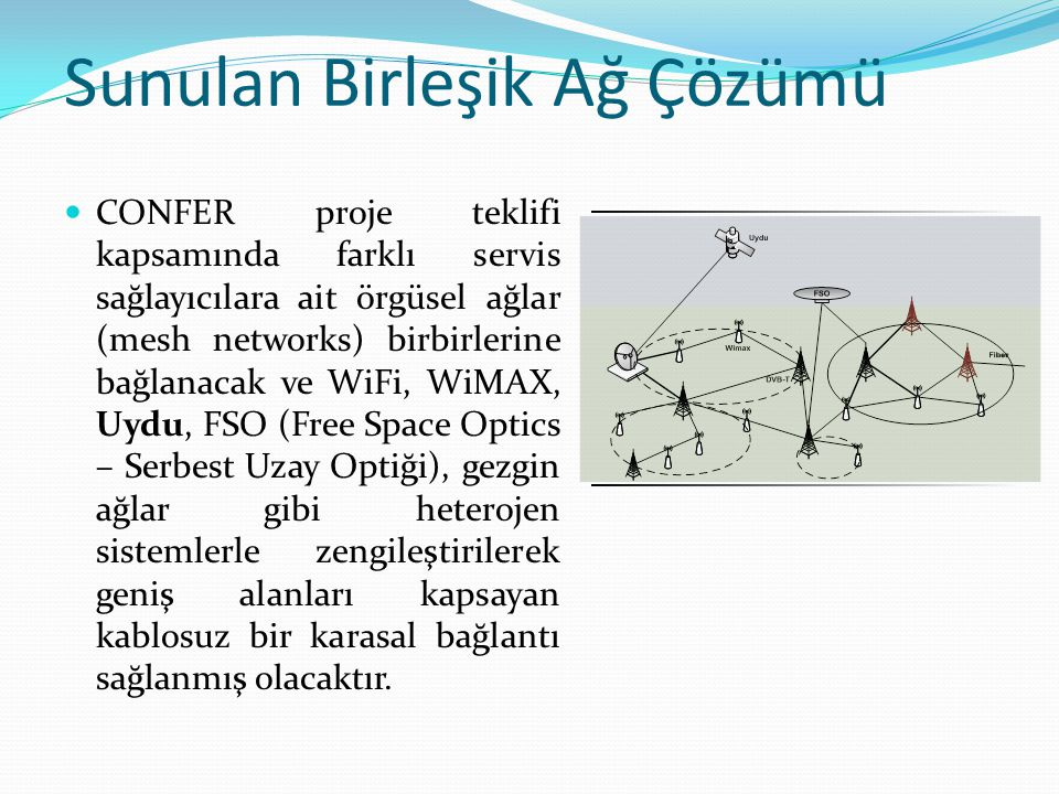 Sunulan Birleşik Ağ Çözümü CONFER proje teklifi kapsamında farklı servis sağlayıcılara ait örgüsel ağlar (mesh networks) birbirlerine bağlanacak ve WiFi, WiMAX, Uydu, FSO (Free Space Optics – Serbest Uzay Optiği), gezgin ağlar gibi heterojen sistemlerle zengileştirilerek geniş alanları kapsayan kablosuz bir karasal bağlantı sağlanmış olacaktır.