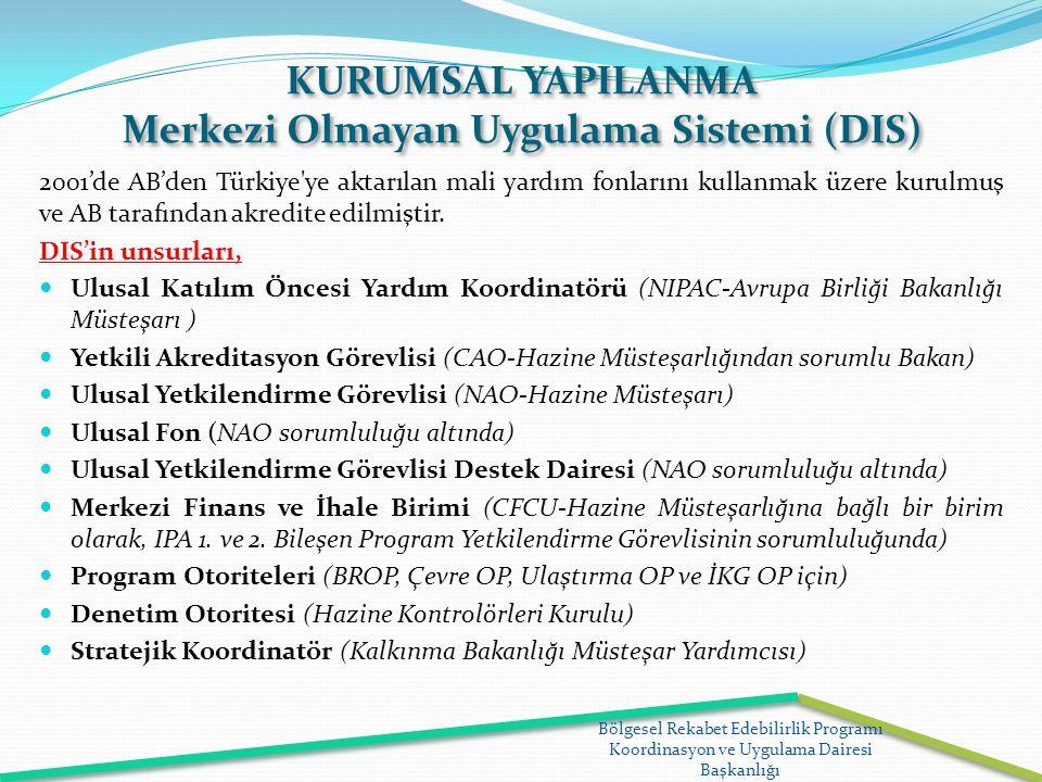 KURUMSAL YAPILANMA Merkezi Olmayan Uygulama Sistemi (DIS) 2001'de AB'den Türkiye'ye aktarılan mali yardım fonlarını kullanmak üzere kurulmuş ve AB tar