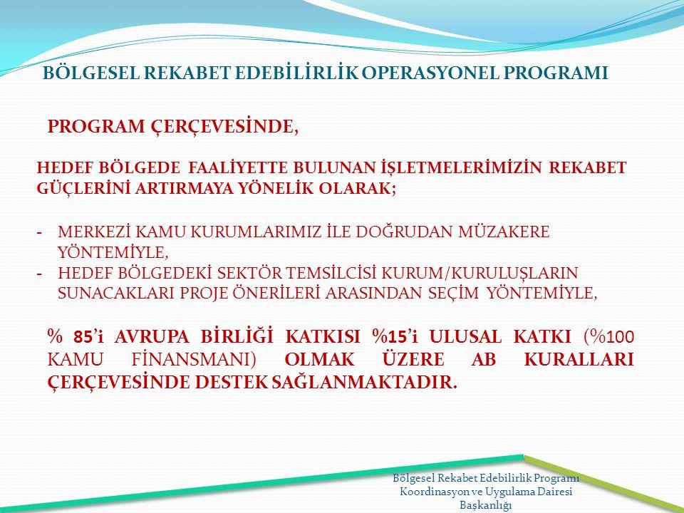 Bölgesel Rekabet Edebilirlik Programı Koordinasyon ve Uygulama Dairesi Başkanlığı BÖLGESEL REKABET EDEBİLİRLİK OPERASYONEL PROGRAMI HEDEF BÖLGEDE FAAL