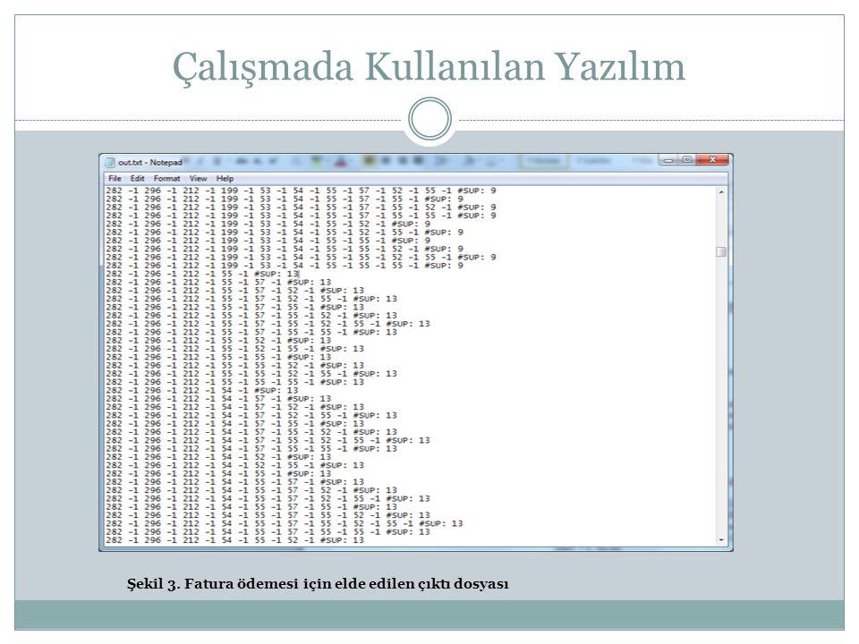 Çalışmada Kullanılan Yazılım Şekil 3. Fatura ödemesi için elde edilen çıktı dosyası