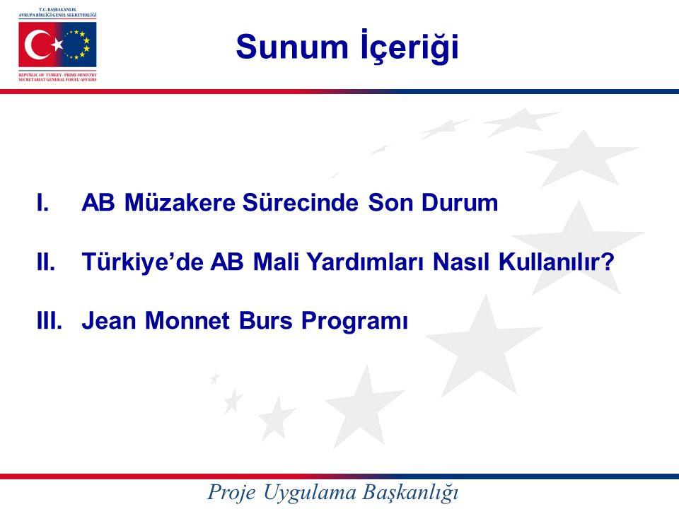 Sunum İçeriği I.AB Müzakere Sürecinde Son Durum II.Türkiye'de AB Mali Yardımları Nasıl Kullanılır? III.Jean Monnet Burs Programı Proje Uygulama Başkan