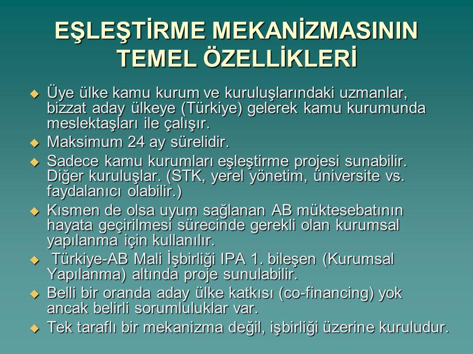 Desteği Sağlayan Üye Devlet Kurumundaki Proje Lideri Türkiye'de Projeden Yararlanan Kurumdaki Proje Lideri Desteği Sağlayan Üye Devlet Kurumundan Gelen Yerleşik Eşleştirme Danışmanı Türkiye'de Projeden Yararlanan Kurumdaki Yerleşik Eşleştirme Danışmanı Muadili EŞLEŞTİRME SÜRECİNİN BAŞLICA AKTÖRLERİ Avrupa Birliği Genel Sekreterliği
