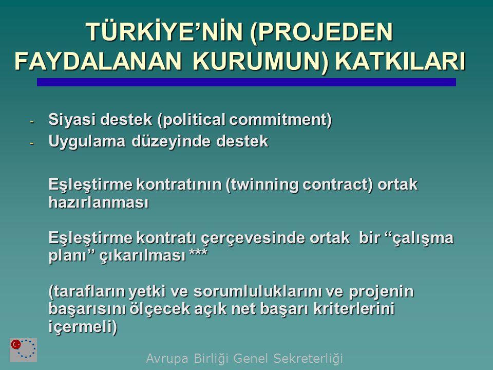 TÜRKİYE'NİN (PROJEDEN FAYDALANAN KURUMUN) KATKILARI - Siyasi destek (political commitment) - Uygulama düzeyinde destek Eşleştirme kontratının (twinning contract) ortak hazırlanması Eşleştirme kontratı çerçevesinde ortak bir çalışma planı çıkarılması *** (tarafların yetki ve sorumluluklarını ve projenin başarısını ölçecek açık net başarı kriterlerini içermeli) Avrupa Birliği Genel Sekreterliği