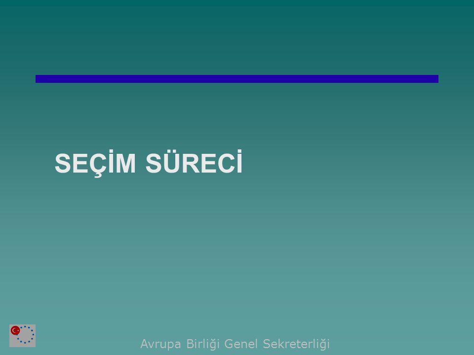  Projelerin Üye Ülkelere Dağıtılması  Üye Ülkelerin Projeler için Önerilerini İletmesi  Önerilerin Türkiye'de Projelerden Yararlanacak Kurumlara Dağıtılması  Seçim Komitesi Toplantıları Avrupa Birliği Genel Sekreterliği