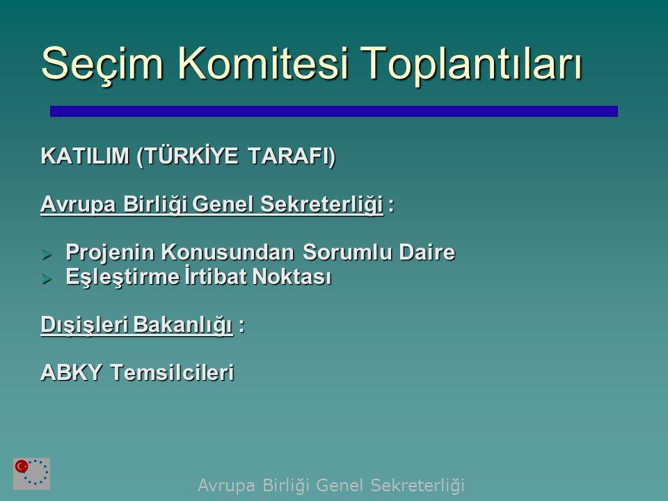 ÜYE ÜLKE VE KOMİSYON TARAFI Avrupa Komisyonu Türkiye Delegasyonu:  Kurumsal Yapılanma Birimi  Sektör Uzmanları Üye Ülke :  Proje Lideri  Yerleşik Eşleştirme Danışmanı  Projede Çalışacak Uzmanlar  Eşleştirme İrtibat Noktası Seçim Komitesi Toplantıları Avrupa Birliği Genel Sekreterliği