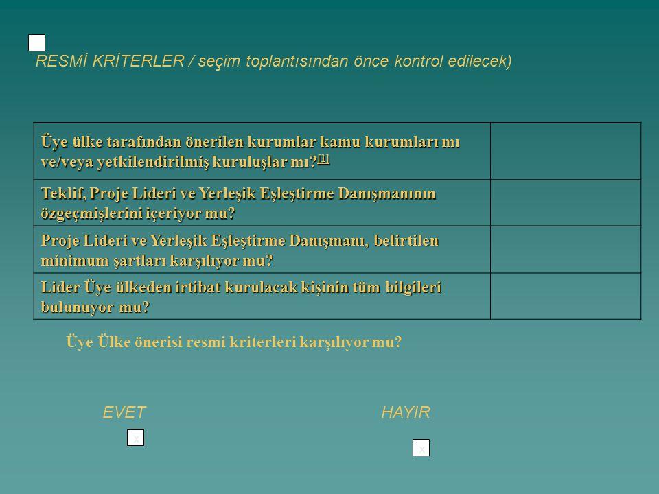 x RESMİ KRİTERLER / seçim toplantısından önce kontrol edilecek) Üye ülke tarafından önerilen kurumlar kamu kurumları mı ve/veya yetkilendirilmiş kuruluşlar mı.