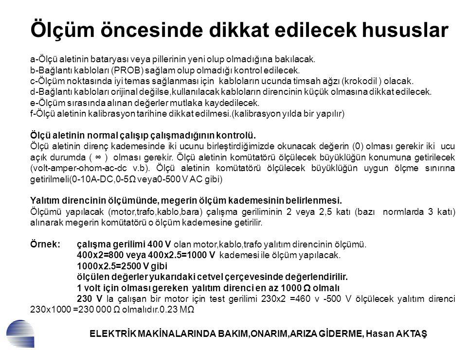 ELEKTRİK MAKİNALARINDA BAKIM,ONARIM,ARIZA GİDERME, Hasan AKTAŞ Kolektör ve bilezik yüzeylerinde bozulmalar.