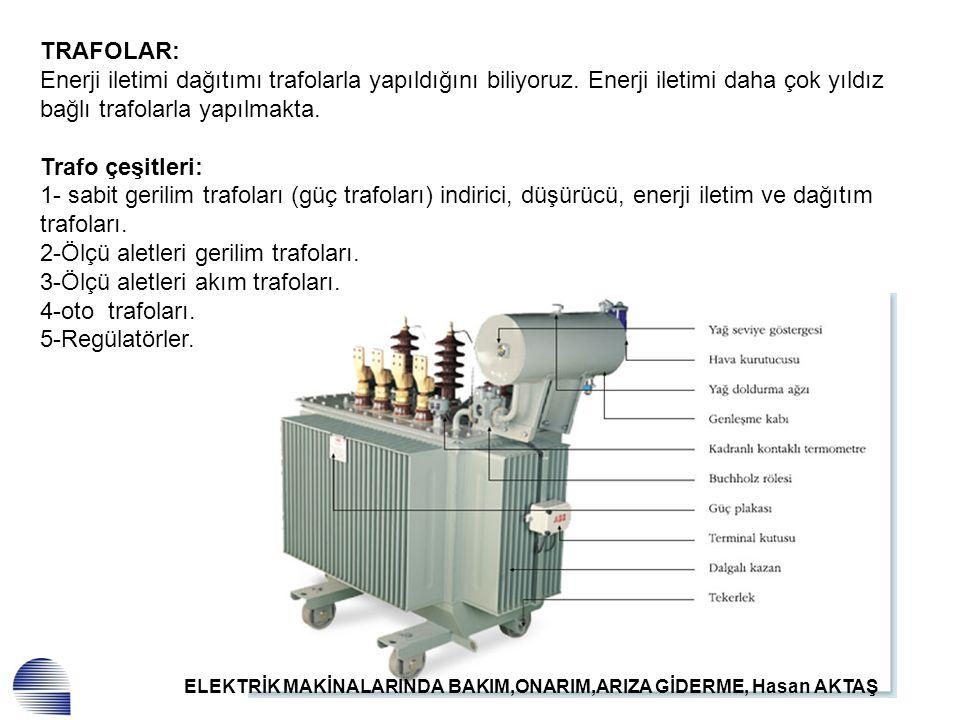 ELEKTRİK MAKİNALARINDA BAKIM,ONARIM,ARIZA GİDERME, Hasan AKTAŞ TRAFOLAR: Enerji iletimi dağıtımı trafolarla yapıldığını biliyoruz. Enerji iletimi daha