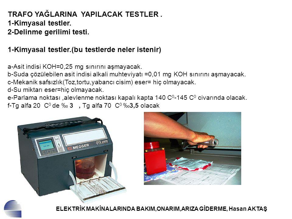 ELEKTRİK MAKİNALARINDA BAKIM,ONARIM,ARIZA GİDERME, Hasan AKTAŞ TRAFO YAĞLARINA YAPILACAK TESTLER. 1-Kimyasal testler. 2-Delinme gerilimi testi. 1-Kimy