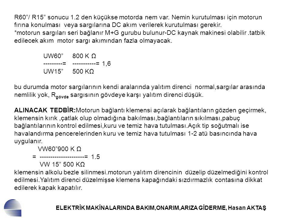 """ELEKTRİK MAKİNALARINDA BAKIM,ONARIM,ARIZA GİDERME, Hasan AKTAŞ R60""""/ R15"""" sonucu 1.2 den küçükse motorda nem var. Nemin kurutulması için motorun fırın"""