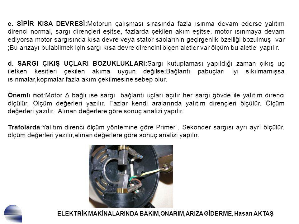 ELEKTRİK MAKİNALARINDA BAKIM,ONARIM,ARIZA GİDERME, Hasan AKTAŞ c. SİPİR KISA DEVRESİ:Motorun çalışması sırasında fazla ısınma devam ederse yalıtım dir