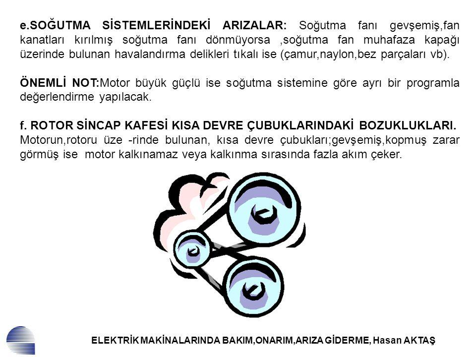 ELEKTRİK MAKİNALARINDA BAKIM,ONARIM,ARIZA GİDERME, Hasan AKTAŞ g.