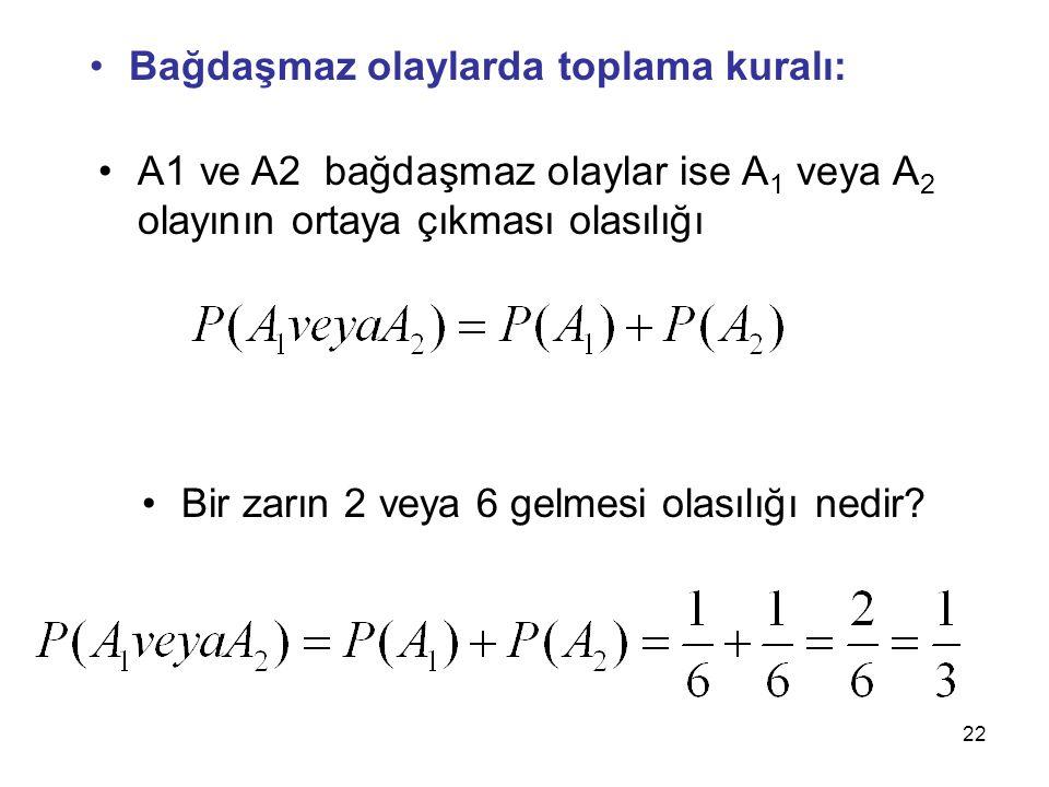 22 Bağdaşmaz olaylarda toplama kuralı: A1 ve A2 bağdaşmaz olaylar ise A 1 veya A 2 olayının ortaya çıkması olasılığı Bir zarın 2 veya 6 gelmesi olasılığı nedir?