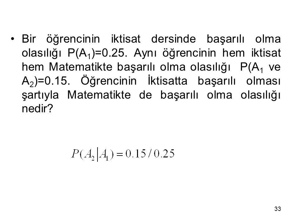 33 Bir öğrencinin iktisat dersinde başarılı olma olasılığı P(A 1 )=0.25. Aynı öğrencinin hem iktisat hem Matematikte başarılı olma olasılığı P(A 1 ve