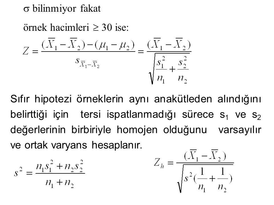  bilinmiyor fakat örnek hacimleri  30 ise: Sıfır hipotezi örneklerin aynı anakütleden alındığını belirttiği için tersi ispatlanmadığı sürece s 1 ve s 2 değerlerinin birbiriyle homojen olduğunu varsayılır ve ortak varyans hesaplanır.