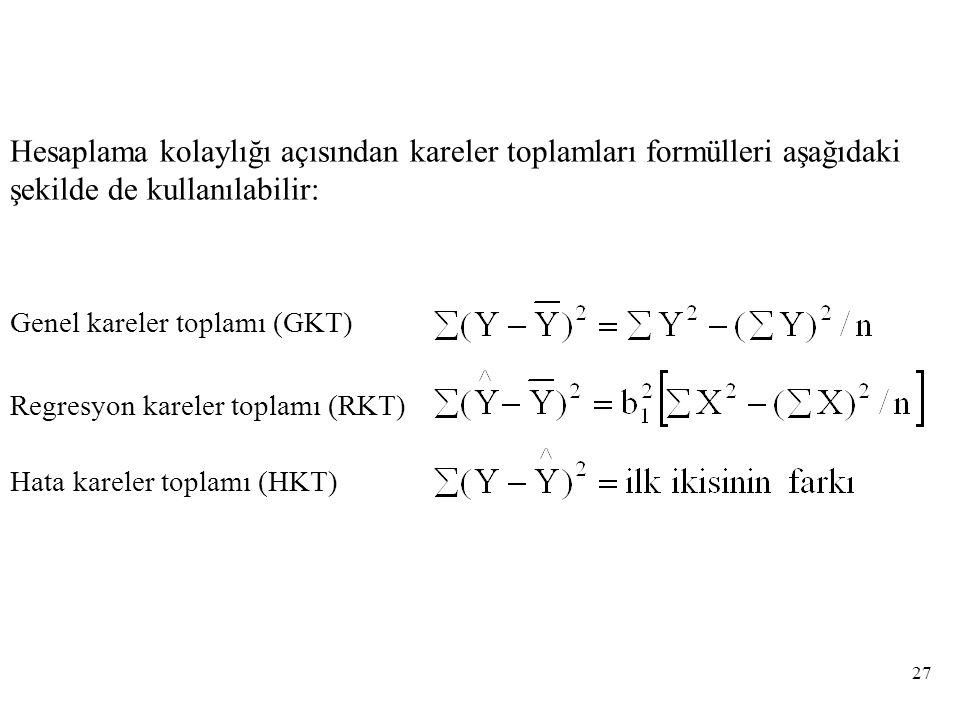 Hesaplama kolaylığı açısından kareler toplamları formülleri aşağıdaki şekilde de kullanılabilir: Genel kareler toplamı (GKT) Regresyon kareler toplamı (RKT) Hata kareler toplamı (HKT) 27
