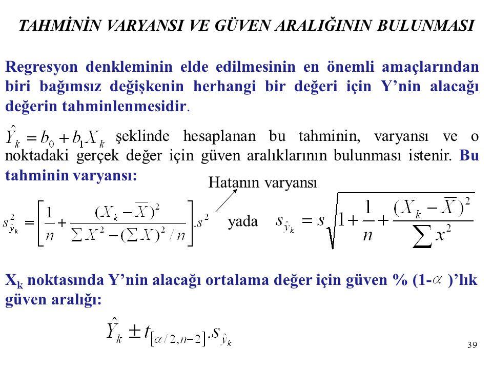 TAHMİNİN VARYANSI VE GÜVEN ARALIĞININ BULUNMASI Regresyon denkleminin elde edilmesinin en önemli amaçlarından biri bağımsız değişkenin herhangi bir değeri için Y'nin alacağı değerin tahminlenmesidir.