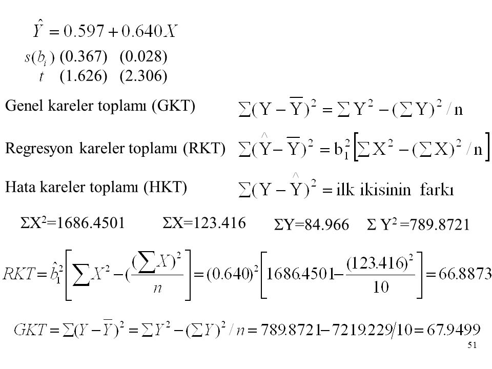 Genel kareler toplamı (GKT) Regresyon kareler toplamı (RKT) Hata kareler toplamı (HKT) (0.367) (0.028) (1.626) (2.306)  X 2 =1686.4501  X=123.416  Y=84.966  Y 2 =789.8721 51