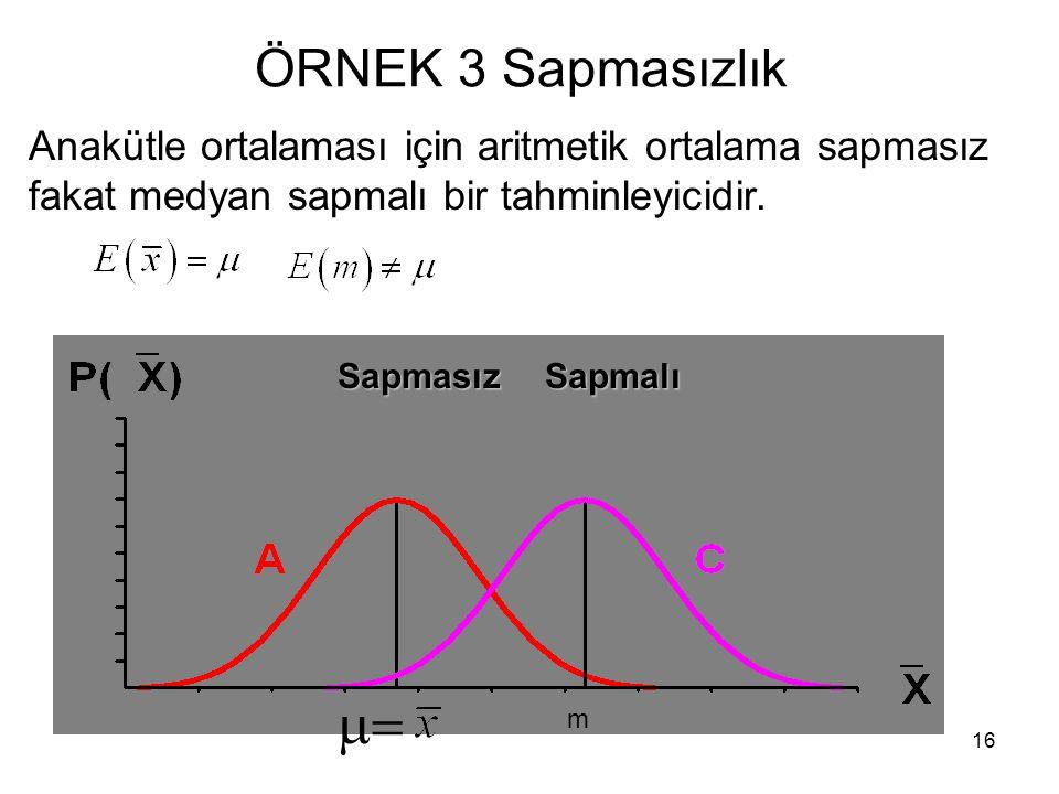 16 ÖRNEK 3 Sapmasızlık  SapmasızSapmalı m Anakütle ortalaması için aritmetik ortalama sapmasız fakat medyan sapmalı bir tahminleyicidir.