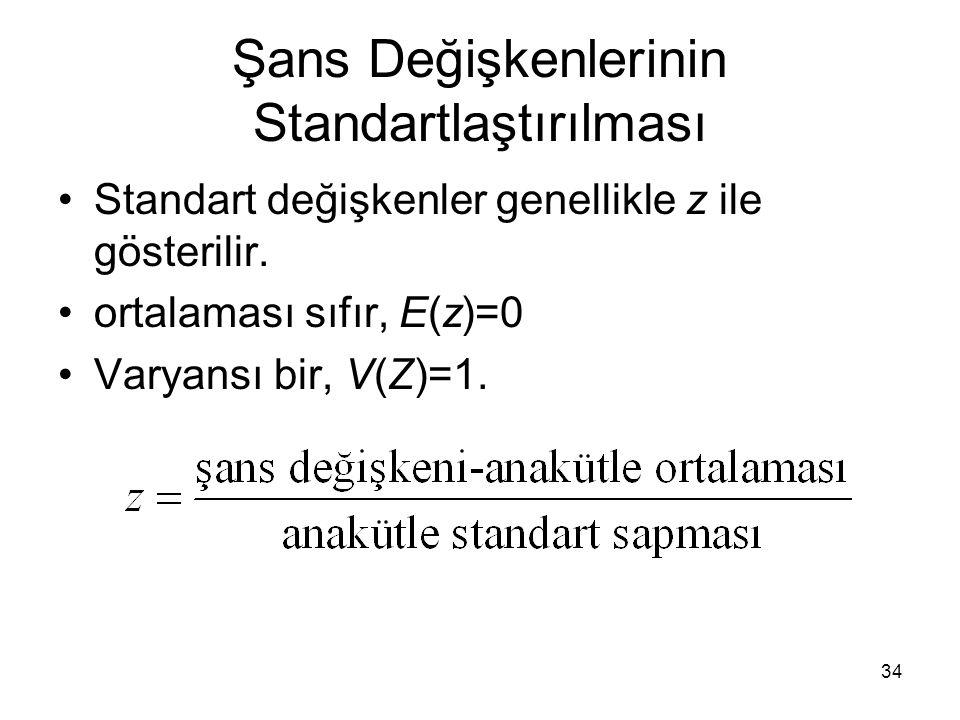 34 Şans Değişkenlerinin Standartlaştırılması Standart değişkenler genellikle z ile gösterilir. ortalaması sıfır, E(z)=0 Varyansı bir, V(Z)=1.