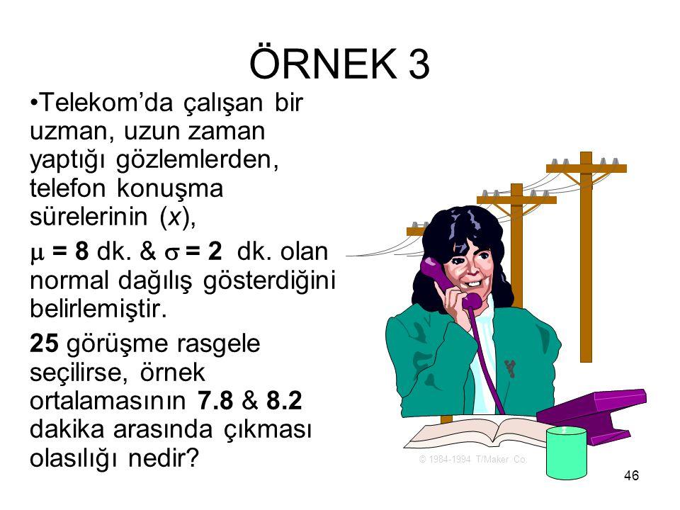 46 ÖRNEK 3 Telekom'da çalışan bir uzman, uzun zaman yaptığı gözlemlerden, telefon konuşma sürelerinin (x),  = 8 dk. &  = 2 dk. olan normal dağılış g