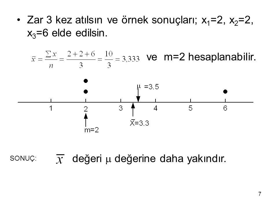7 Zar 3 kez atılsın ve örnek sonuçları; x 1 =2, x 2 =2, x 3 =6 elde edilsin. ve m=2 hesaplanabilir. SONUÇ: değeri  değerine daha yakındır.