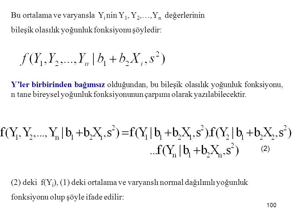 EYOBY''nin regresyon modeline uygulanışı şöyledir: Y bağımlı değişkeninin ortalamalı varyanslı normal ve Y i değerlerinin bağımsız dağıldığı varsayılmaktadır.