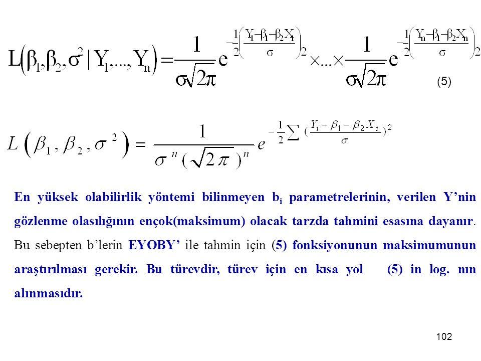 (3) (3)'ü (1) deki her Y i yerine koyarak aşağıdaki ifadeyi elde ederiz: (4) (4) de Y i ler bilindiğinde ve b 1,b 2 ve s2 ler bilinmediğinde (4) ifadesine en yüksek olabilirlik fonksiyonu adı verilir ve L(b 1,b 2,s2) şeklinde gösterilir.
