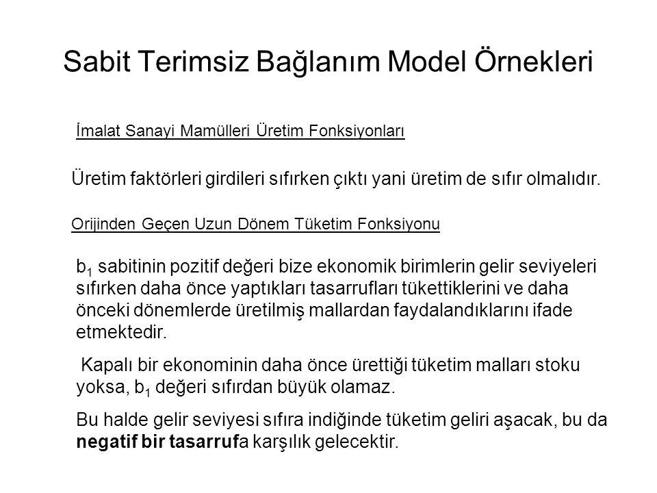 Sabit Terimsiz Bağlanım Modeli Sabit Terimsiz Bağlanım Modelinin Özellikleri 1) Sabit terimsiz regresyonda Σei lerin sıfıra eşit olması şart değildir.