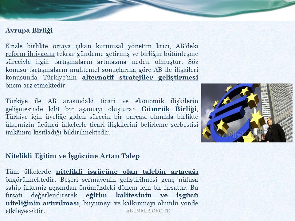AB.İMMİB.ORG.TR Avrupa Birliği Krizle birlikte ortaya çıkan kurumsal yönetim krizi, AB'deki reform ihtiyacını tekrar gündeme getirmiş ve birliğin bütü