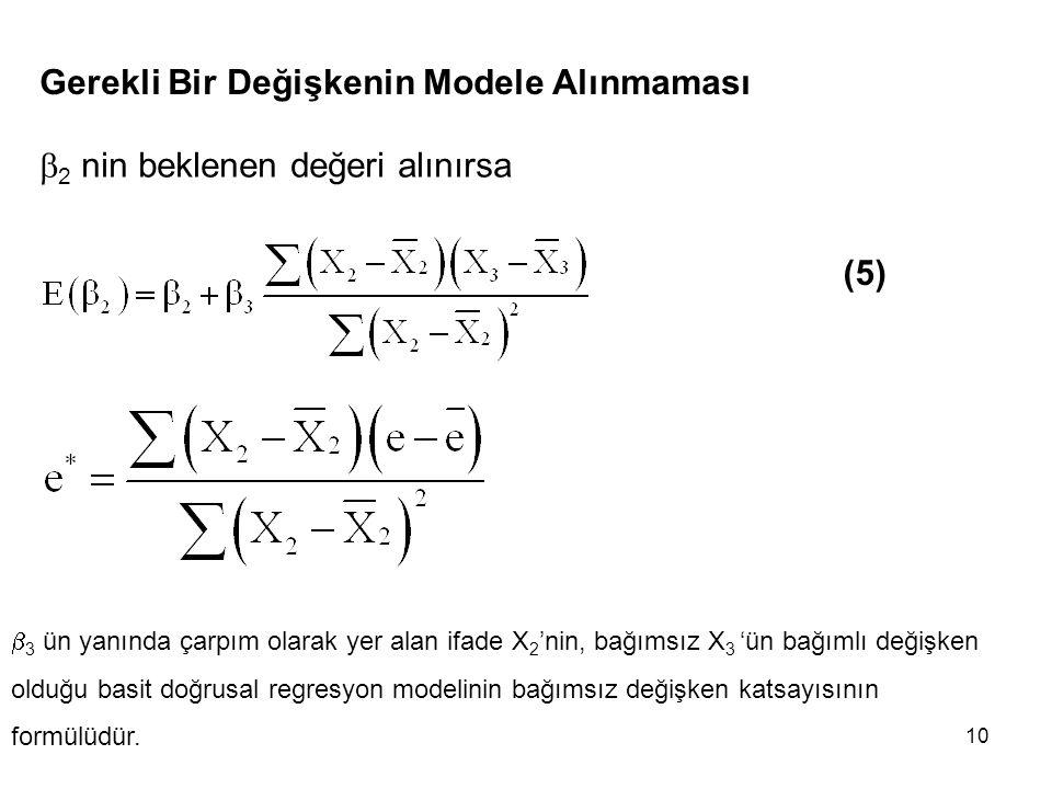 10 Gerekli Bir Değişkenin Modele Alınmaması  2 nin beklenen değeri alınırsa (5)  3 ün yanında çarpım olarak yer alan ifade X 2 'nin, bağımsız X 3 'ün bağımlı değişken olduğu basit doğrusal regresyon modelinin bağımsız değişken katsayısının formülüdür.