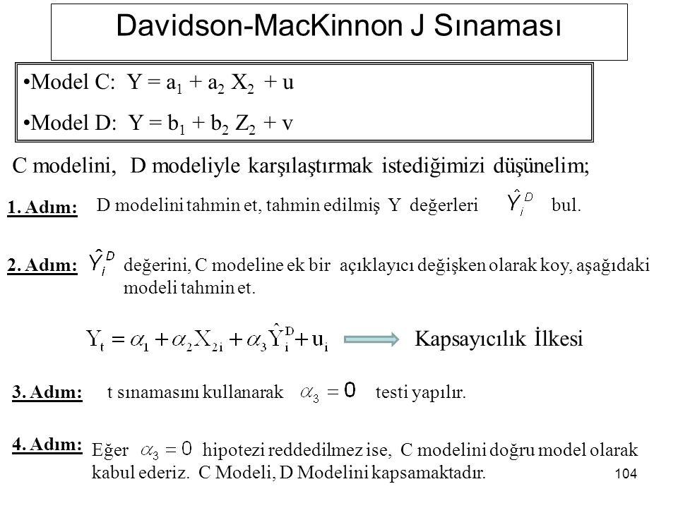 104 Davidson-MacKinnon J Sınaması C modelini, D modeliyle karşılaştırmak istediğimizi düşünelim; 1. Adım: 2. Adım: D modelini tahmin et, tahmin edilmi