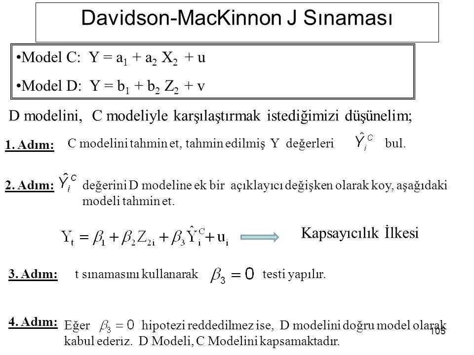 105 Davidson-MacKinnon J Sınaması D modelini, C modeliyle karşılaştırmak istediğimizi düşünelim; 1. Adım: 2. Adım: C modelini tahmin et, tahmin edilmi