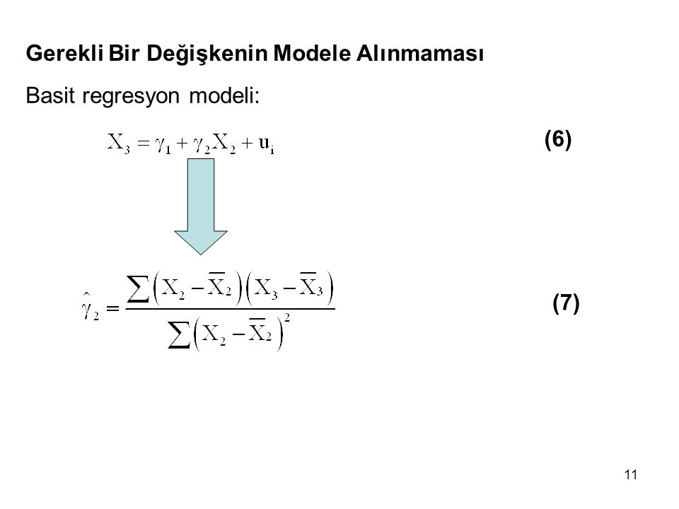 11 Gerekli Bir Değişkenin Modele Alınmaması Basit regresyon modeli: (6) (7)