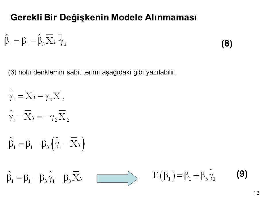 13 Gerekli Bir Değişkenin Modele Alınmaması (8) (6) nolu denklemin sabit terimi aşağıdaki gibi yazılabilir. (9)
