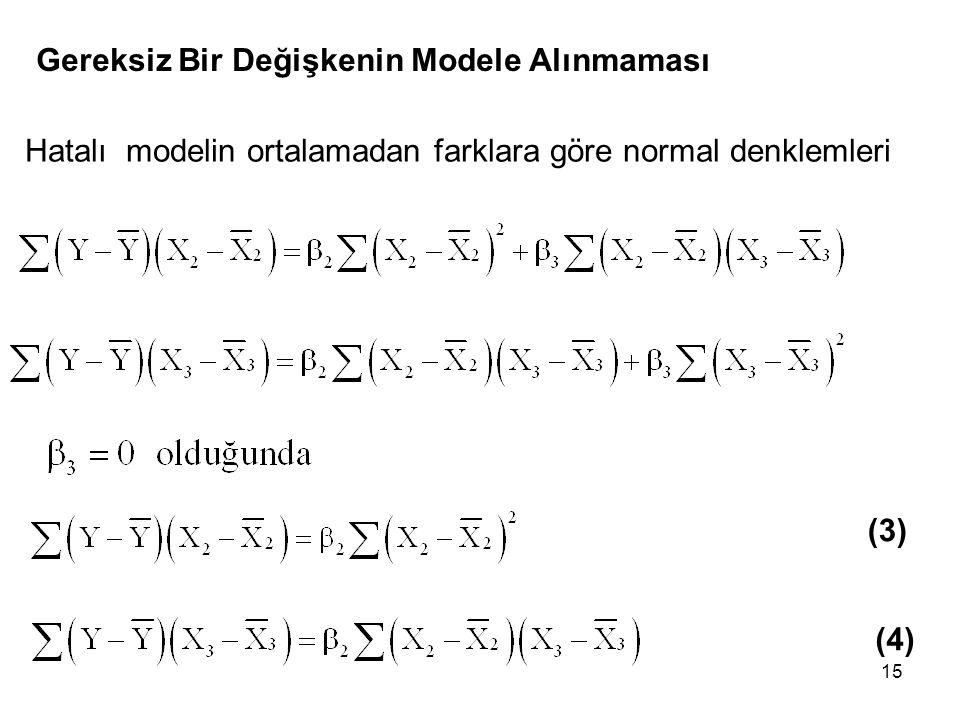 15 Gereksiz Bir Değişkenin Modele Alınmaması Hatalı modelin ortalamadan farklara göre normal denklemleri (3) (4)