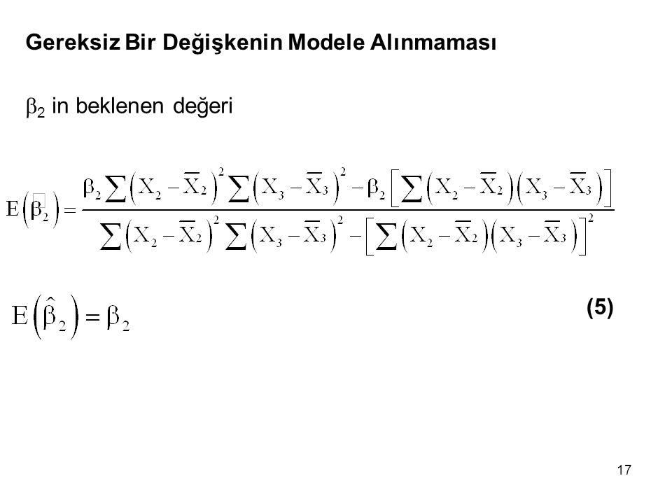 17 Gereksiz Bir Değişkenin Modele Alınmaması  2 in beklenen değeri (5)