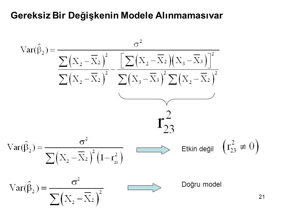 21 Gereksiz Bir Değişkenin Modele Alınmamasıvar Etkin değil Doğru model