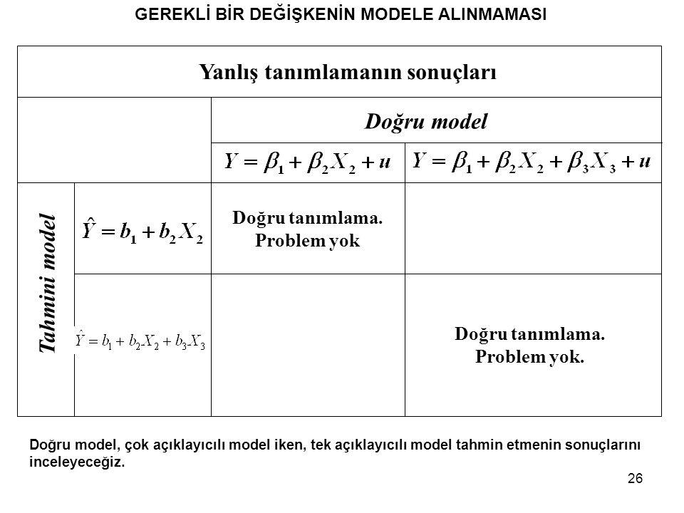 26 GEREKLİ BİR DEĞİŞKENİN MODELE ALINMAMASI Doğru model, çok açıklayıcılı model iken, tek açıklayıcılı model tahmin etmenin sonuçlarını inceleyeceğiz.