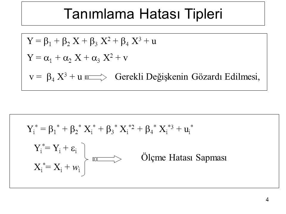4 Tanımlama Hatası Tipleri Y i * =  1 * +  2 * X i * +  3 * X i *2 +  4 * X i *3 + u i * Y i * = Y i +  i X i * = X i + w i Ölçme Hatası Sapması