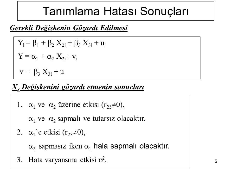 5 Tanımlama Hatası Sonuçları Y i =  1 +  2 X 2i +  3 X 3i + u i Y =   +  2 X 2i + v i v =  3 X 3i + u Gerekli Değişkenin Gözardı Edilmesi X 3 D
