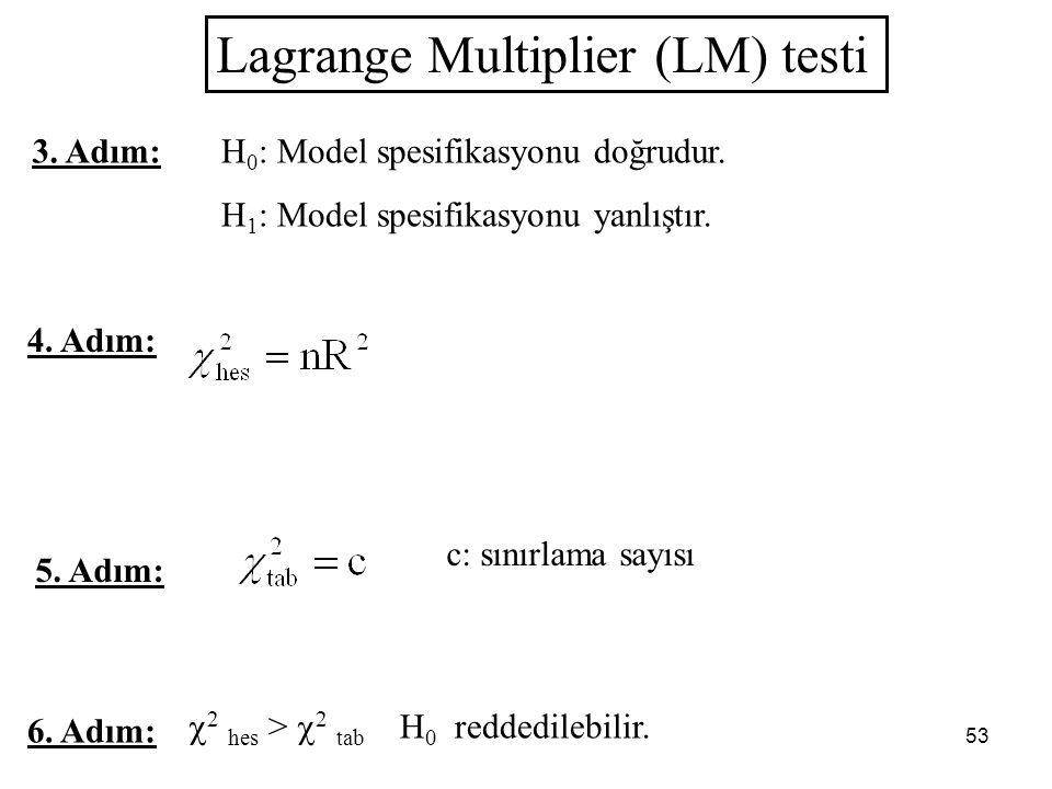 53 Lagrange Multiplier (LM) testi 4. Adım: 6. Adım:  2 hes >  2 tab H 0 reddedilebilir. 5. Adım: c: sınırlama sayısı H 0 : Model spesifikasyonu doğr
