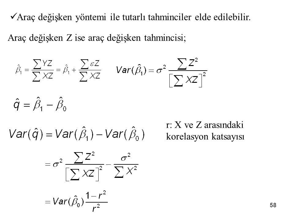 58 Araç değişken Z ise araç değişken tahmincisi; Araç değişken yöntemi ile tutarlı tahminciler elde edilebilir. r: X ve Z arasındaki korelasyon katsay