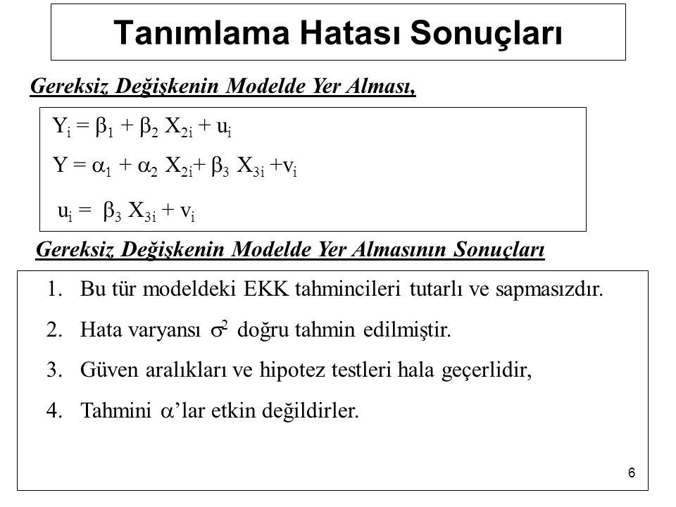 6 Tanımlama Hatası Sonuçları Y i =  1 +  2 X 2i + u i Y =   +  2 X 2i +  3 X 3i +v i u i =  3 X 3i + v i Gereksiz Değişkenin Modelde Yer Alması