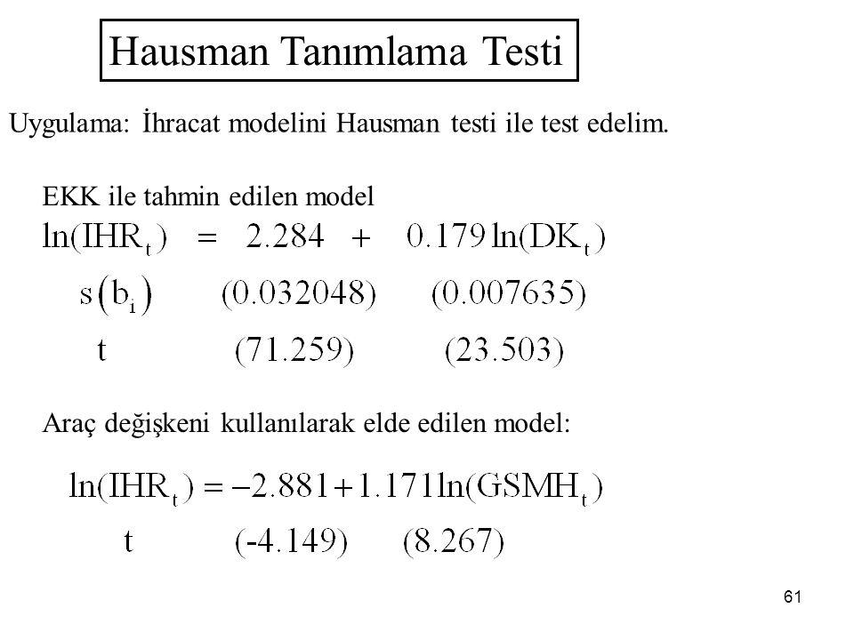 61 Hausman Tanımlama Testi Uygulama: İhracat modelini Hausman testi ile test edelim. EKK ile tahmin edilen model Araç değişkeni kullanılarak elde edil