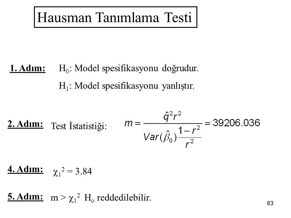 63 Hausman Tanımlama Testi 1. Adım: H 0 : Model spesifikasyonu doğrudur. H 1 : Model spesifikasyonu yanlıştır. 2. Adım: Test İstatistiği: 5. Adım: m >