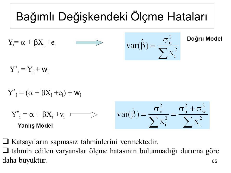 65 Y i =  +  X i +e i Y * i = Y i + w i Y * i = (  +  X i +e i ) + w i Y * i =  +  X i +v i Bağımlı Değişkendeki Ölçme Hataları  Katsayıların sapmasız tahminlerini vermektedir.