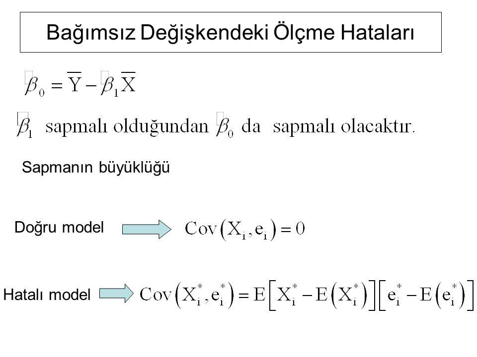 Bağımsız Değişkendeki Ölçme Hataları Sapmanın büyüklüğü Doğru model Hatalı model