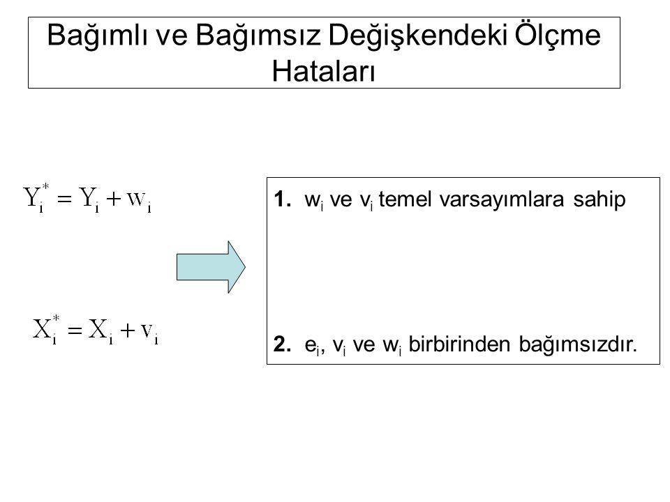 Bağımlı ve Bağımsız Değişkendeki Ölçme Hataları 1. w i ve v i temel varsayımlara sahip 2. e i, v i ve w i birbirinden bağımsızdır.