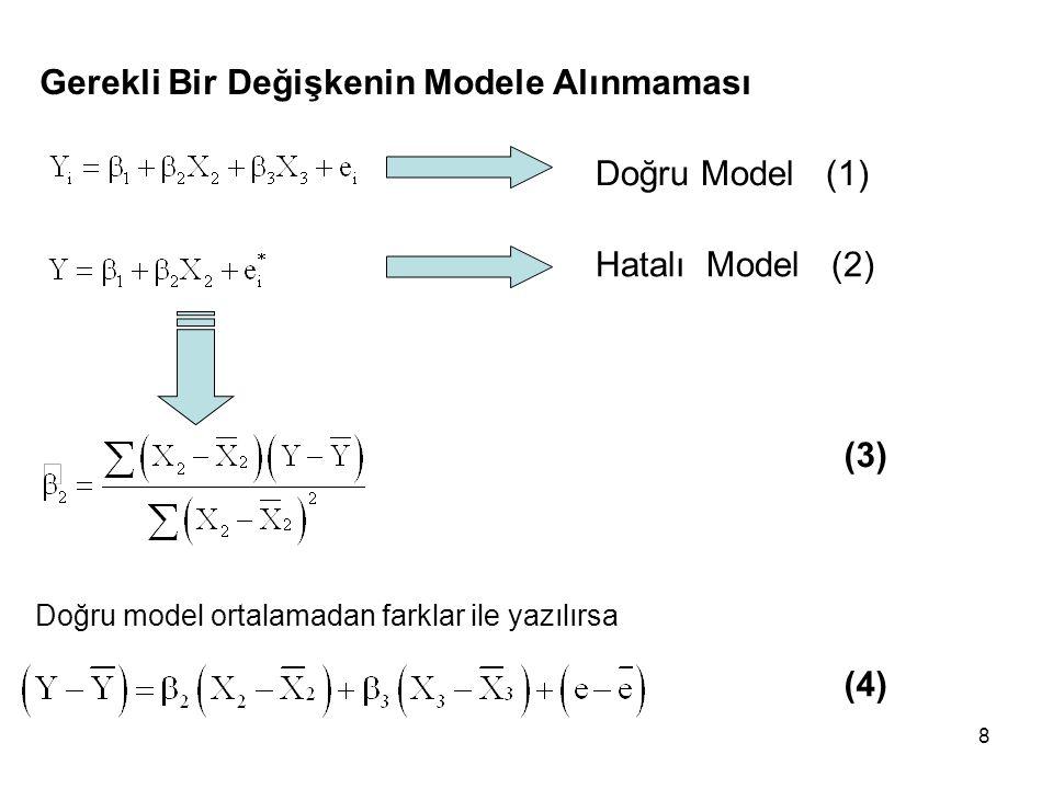 8 Gerekli Bir Değişkenin Modele Alınmaması Doğru Model (1) Hatalı Model (2) Doğru model ortalamadan farklar ile yazılırsa (3) (4)